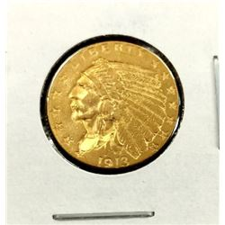 1913 $2.5 Gold Indian Coin AU Grade in 2x2
