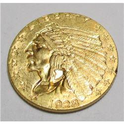 1928 $2.5 Gold Indian AU Grade