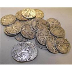 20 pcs. Walking Liberty Half Dollars- 90% Silver