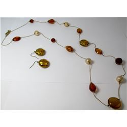 Bead Strand Fashion necklace with earrings