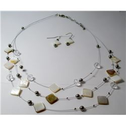 Shell MULTI Strand Fashion necklace with earrings
