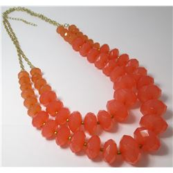 Two Strand Coral colored Fashion necklace