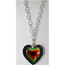Chain Rainbow colored Heart Fashion necklace
