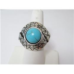 Faux Turquoise Silver Plate Ring