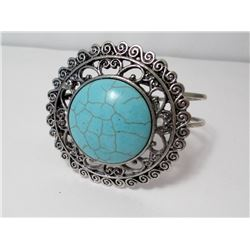 Faux Turquoise Silver Plate Bracelet