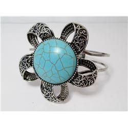 Faux Turquoise Silver Plate Bracelet