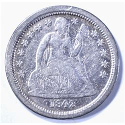 1842-O SEATED DIME, XF KEY DATE