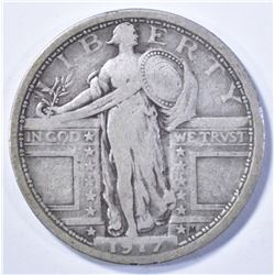 1917 TYPE 1 STANDING LIBERTY QUARTER,