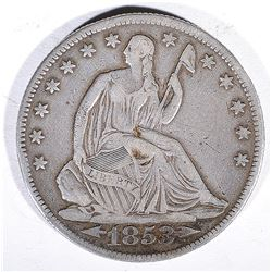 1853-O ARROWS/RAYS SEATED LIBERTY HALF DOLLAR  VF+