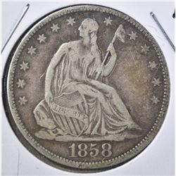 1858 SEATED HALF DOLLAR, F/VF