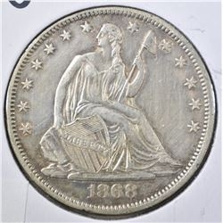 1868-S SEATED LIBERTY HALF DOLLAR  AU