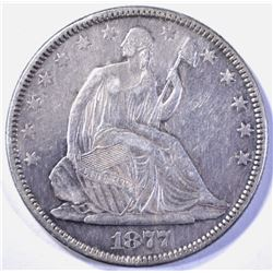 1877 SEATED HALF DOLLAR, XF