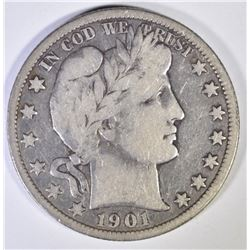 1901-O BARBER HALF DOLLAR  CHOICE FINE