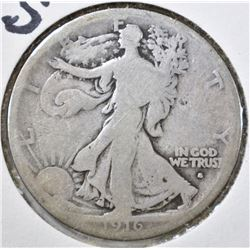1916-S WALKING LIBERTY HALF DOLLAR, VG