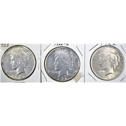 1922, 22-S & 23 PEACE DOLLARS, XF OR BETTER