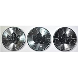 3-BU 2019 CANADIAN MAPLE LEAF COINS