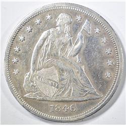 1846 SEATED LIBERTY DOLLAR  AU+