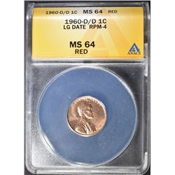 1960-D/D LG DATE LINCOLN CENT ANACS MS-64 RD