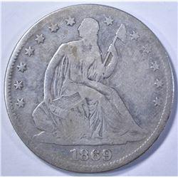 1869 SEATED HALF DOLLAR VG