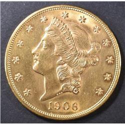 1906 GOLD $20  CH/GEM BU  OLD CLEANING