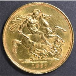1887 2LB GOLD COIN  QUEEN VICTORIA JUBILEE HEAD