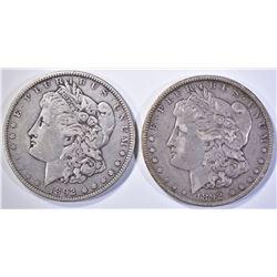 1892 XF & 92-O XF/AU MORGAN DOLLARS