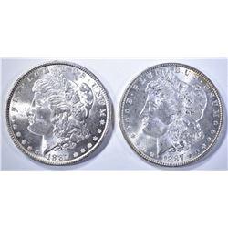 2-CH BU 1887 MORGAN DOLLARS