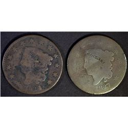 1824/2 VG & 1827 GOOD LARGE CENTS BETTER DATES