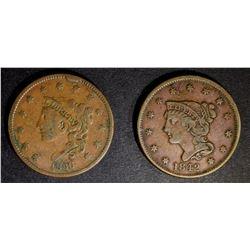 1836 large rim cud & 1842 VF LARGE CENTS
