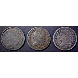 1829 VG, 1932 & 1835 VF HALF CENTS