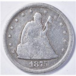 1875-S TWENTY CENT SEATED LIBERTY F+
