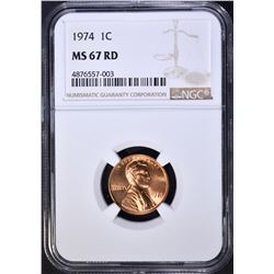 1974-D LINCOLN CENT, NGC MS-67 RED