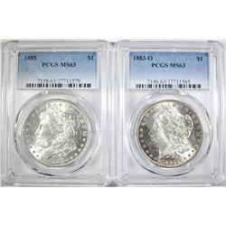 1883-O & 1885 MORGAN DOLLARS  PCGS MS-63