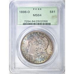 1898-O MORGAN DOLLAR PCGS MS-64  COLOR!