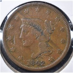 1842 LARGE CENT, VF+