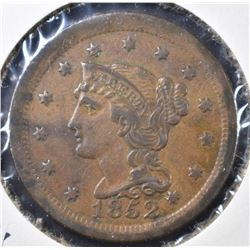 1852 LARGE CENT, XF/AU