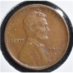 1913-S LINCOLN CENT, XF+