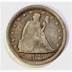1875-S TWENTY CENT PIECE, VF