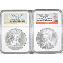 2012 (S) & 2012 (W)  SILVER EAGLES, NGC MS-70