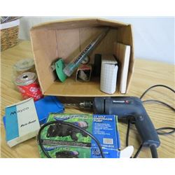LOT OF ASSORTED ITEMS ( ELECTRIC DRILL, PUMP, BOX OF MISC. ETC…)