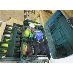 LOT OF FISHING ITEMS (LARGE TACKLE BOX, LOTS OF HOOKS, ETC…)
