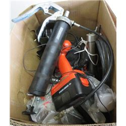 LOT OF ASSORTED TOOLS (18V CORDLESS DRILL- BLACK AND DECKER, GREASE GUN, ETC…)