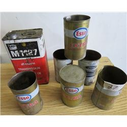 LOT OF 7 OIL TINS ( MASSEY, ESSO, FORD)
