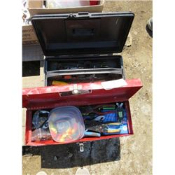 LOT OF 2 TOOL BOXES AND CONTENTS (ASSORTED TOOLS AND ELECTRICAL ITEMS)