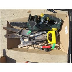 LOT OF ASSORTED SAWS ( HAND SAWS, ELECTRIC CHAIN SAW)