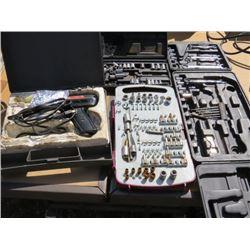 LOT OF ASSORTED TOOLS  (SOLDERING GUN, DRILL BITS, SOCKETS, ETC…)