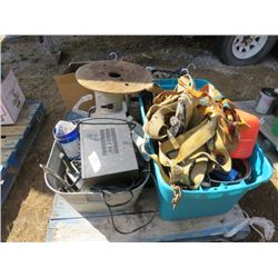 """PALLET LOT OF ASSORTED ITEMS ( RATCHET STRAPS, GALVINIZED TUB, ROLL OF 1"""" STRAPPING, ETC…)"""