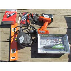 LOT OF ASSORTED ITEMS (DRILLS, SANDER, HOBBY TOOL, LEVELS, ETC)