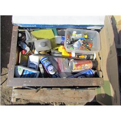 LOT OF (SOLVENTS, CLEANERS, ELECTRICAL, MISC ITEMS)