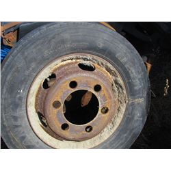 LOT OF TIRES ( 3, 6 BOLT, WITH RIMS, 2 W/O RIMS) *215-75-17.5*